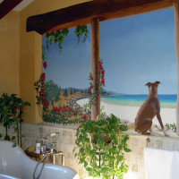Bathroom mural Majorca